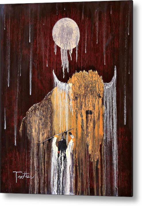 Native Art Metal Print featuring the painting Buffalo Spirit by Patrick Trotter