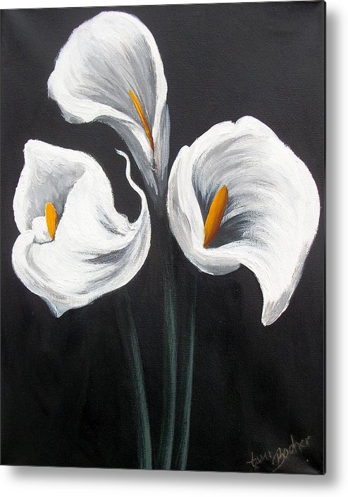 Lilies Metal Print featuring the painting Cala by Tami Booher