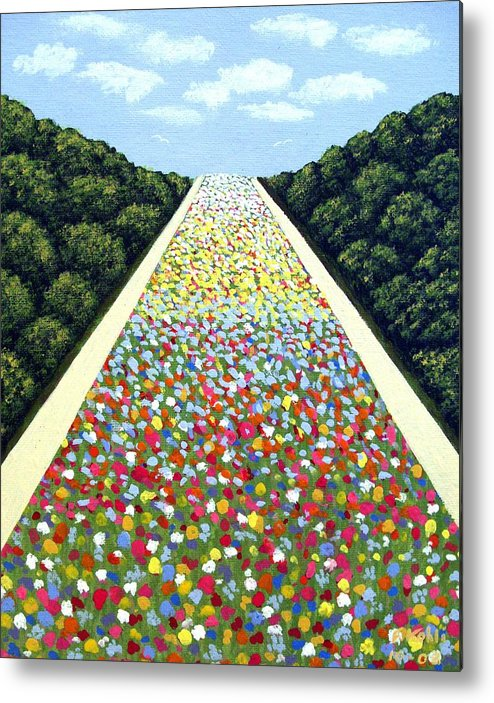 Landscape Paintings Metal Print featuring the painting Carpet of Flowers by Frederic Kohli