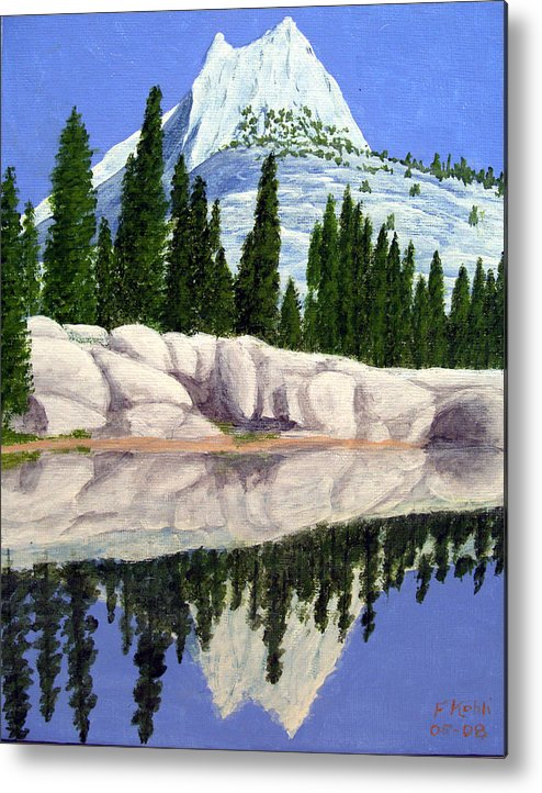Landscape Paintings Metal Print featuring the painting Cathedral Peak by Frederic Kohli