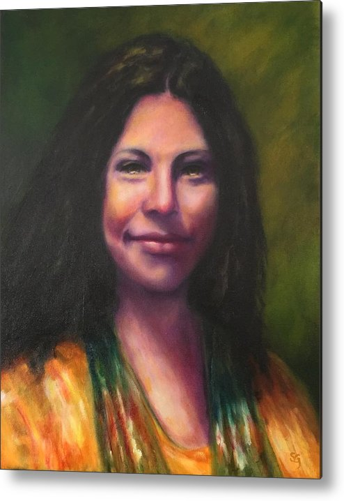 Cheyenne Hernandez Metal Print featuring the painting Cheyenne by Shannon Grissom