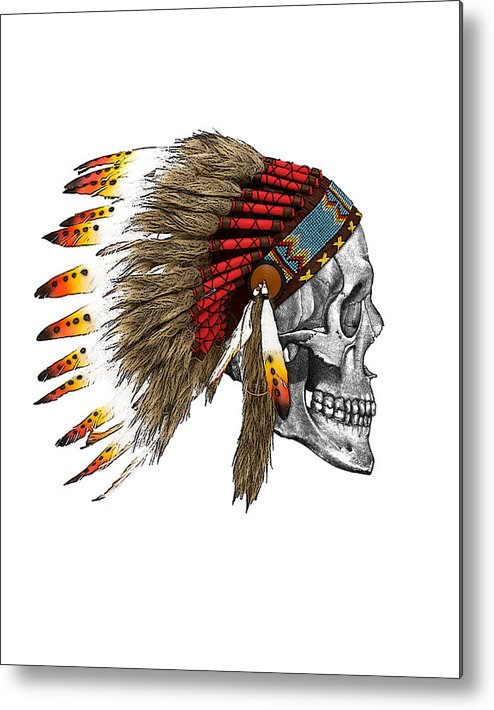 Indian Metal Print featuring the digital art Chief headdress on human skull native american art by Madame Memento
