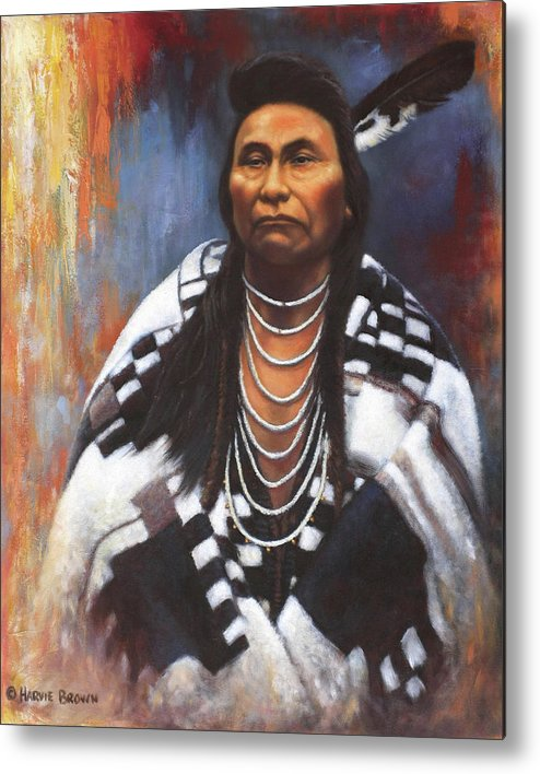 Native American Metal Print featuring the painting Chief Joseph by Harvie Brown