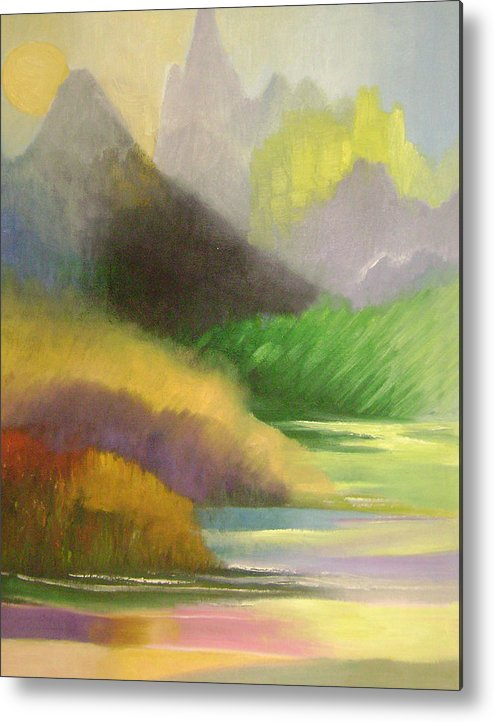 Abstract Metal Print featuring the painting Chinese landscape 2 by Lian Zhen