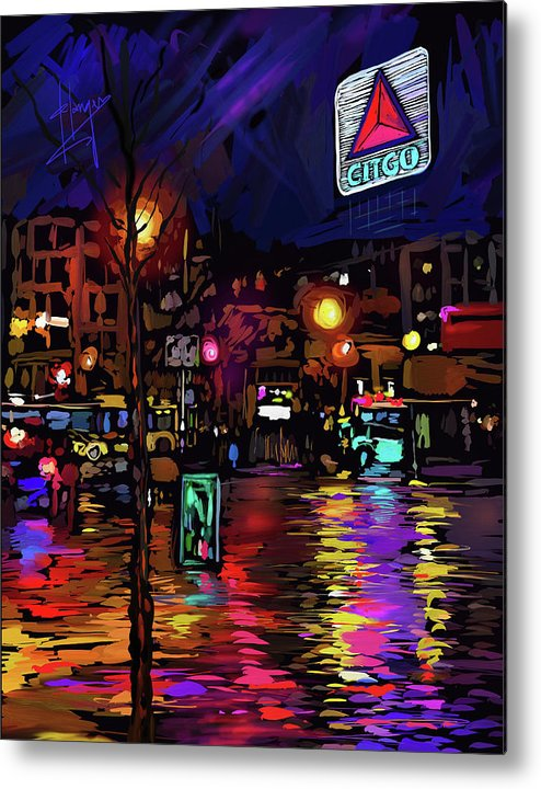Citgo Sign Metal Print featuring the painting Citgo Sign, Boston by DC Langer