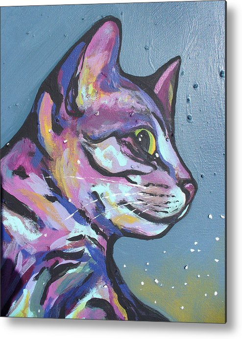 Cat Metal Print featuring the painting Close Rainbow Rocky by Sarah Crumpler