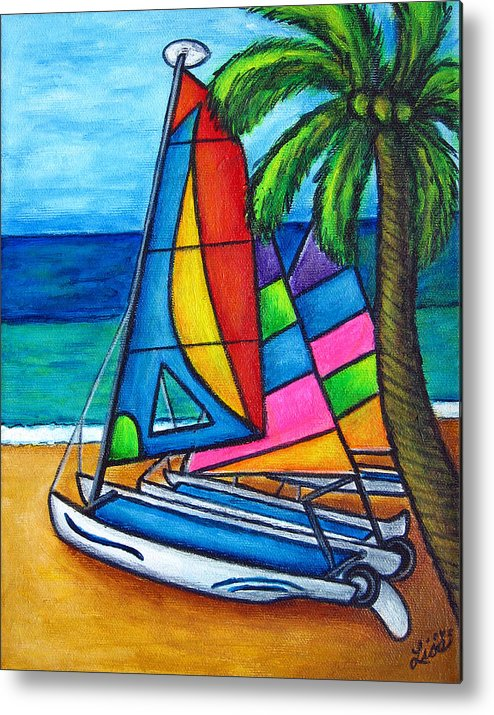 Water Metal Print featuring the painting Colourful Hobby by Lisa Lorenz
