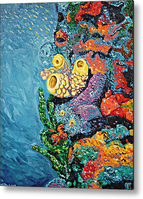 Coral Metal Print featuring the painting Coral With Cucumber by Ericka Herazo