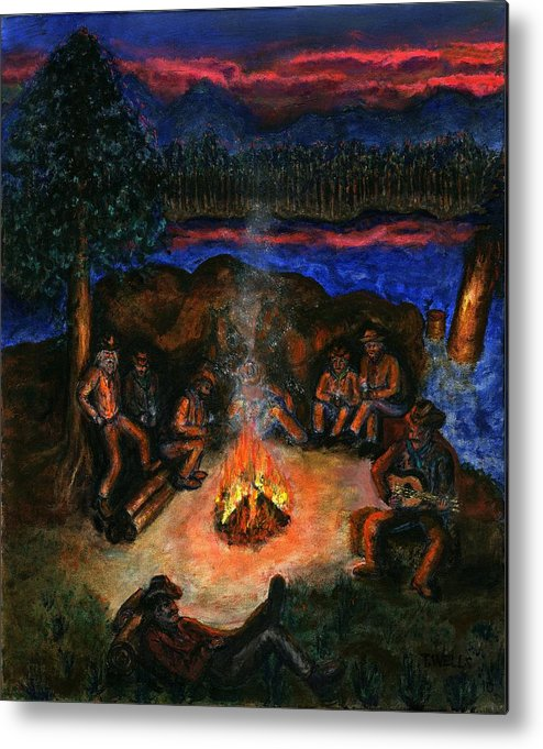 Cowboys Metal Print featuring the painting Cowboys Mountain Camp at Night by Tanna Lee M Wells