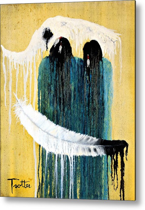 Native American Metal Print featuring the painting Crying for a Vision by Patrick Trotter