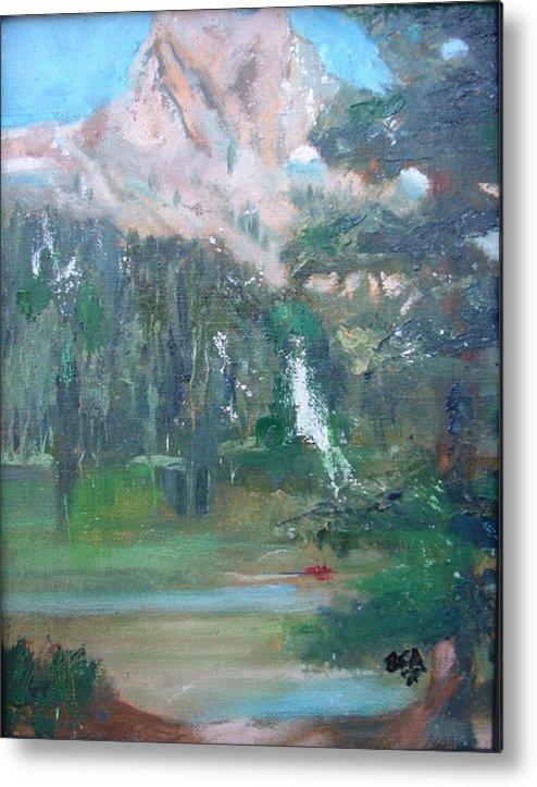 Lake Landscape Mountains Metal Print featuring the painting Crystal Craig At Pine Lake by Bryan Alexander