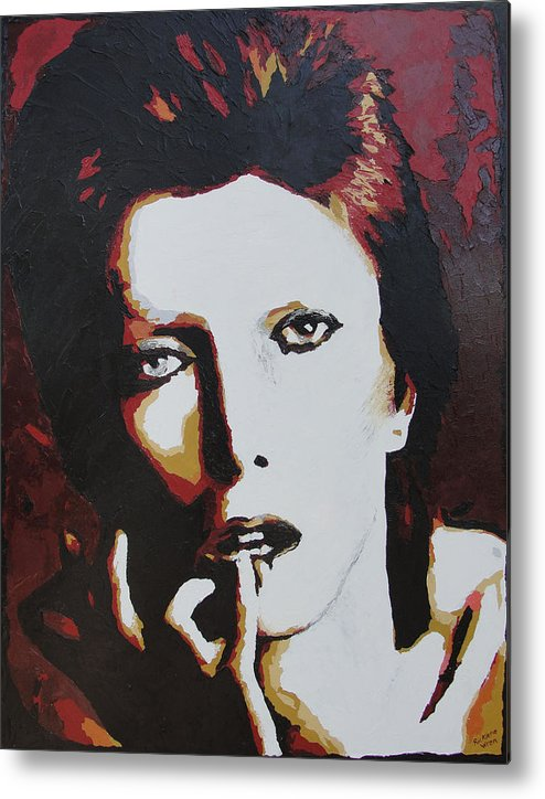 David Bowie Metal Print featuring the painting David Bowie by Ricklene Wren