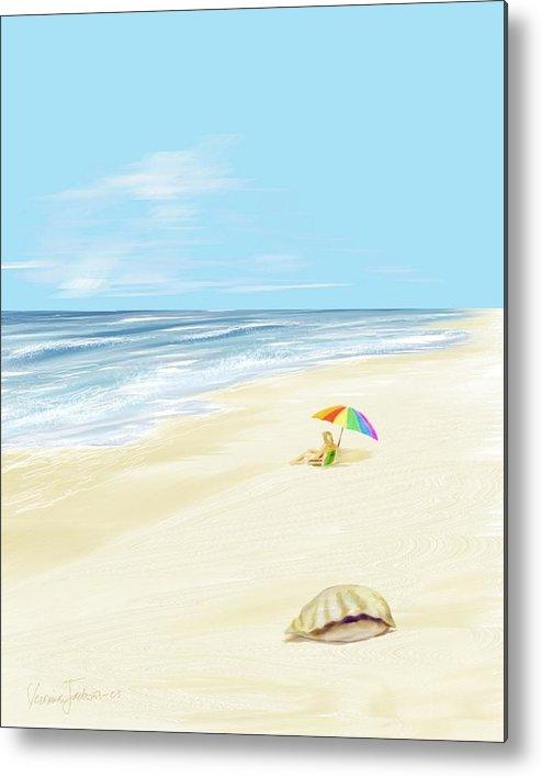 Beach Summer Sun Sand Waves Shells Metal Print featuring the digital art Day at the beach by Veronica Jackson