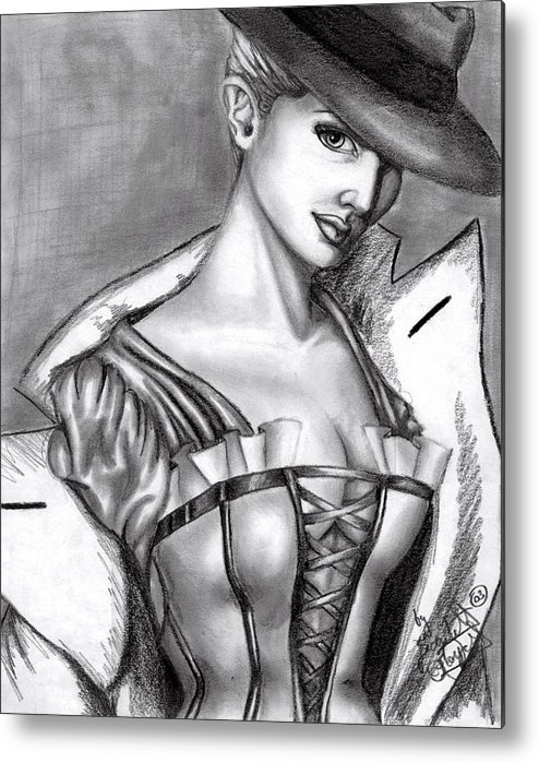 Figure Metal Print featuring the drawing Detective by Scarlett Royal