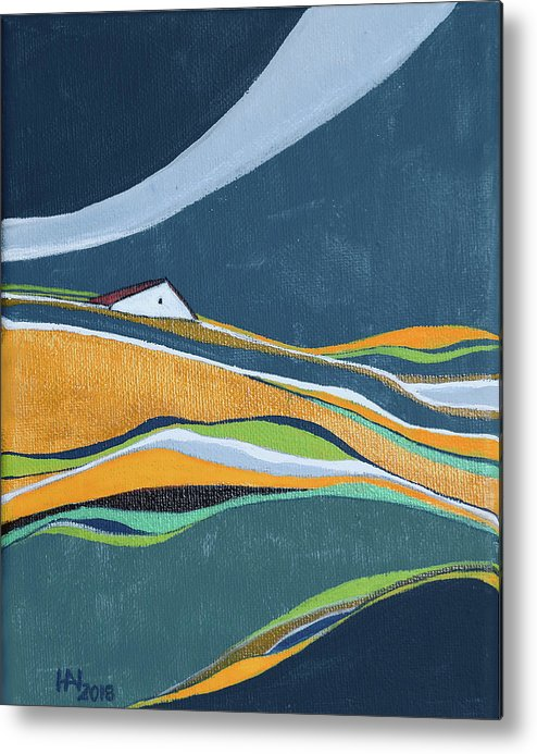 Abstract Metal Print featuring the painting Distant house by Aniko Hencz