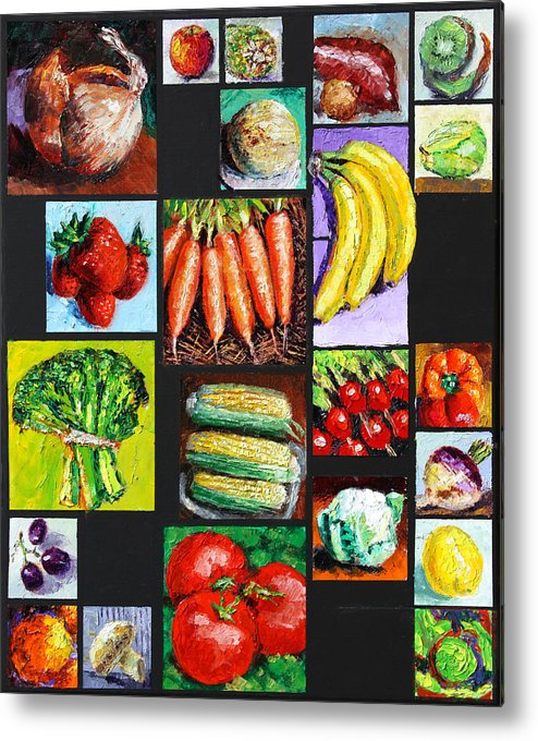Vegetables Metal Print featuring the painting Eat Your Vegies and Fruit by John Lautermilch