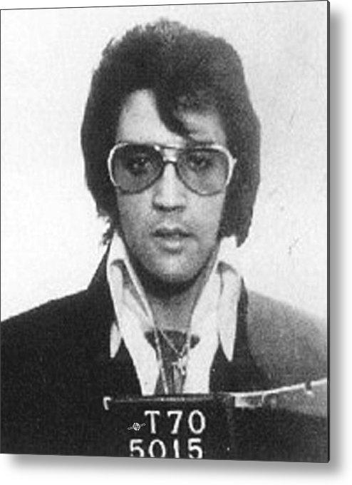 Elvis Presley Metal Print featuring the painting Elvis Presley Mug Shot Vertical by Tony Rubino