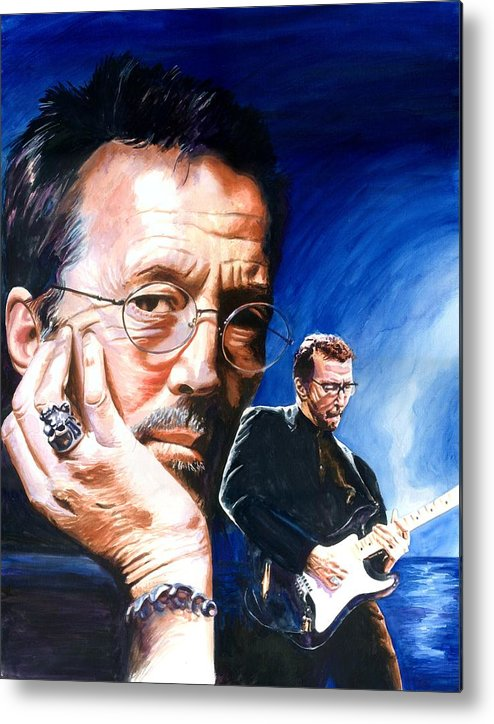 Musicians Metal Print featuring the painting Eric Clapton Blues Lake by Ken Meyer jr