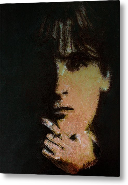 Face Metal Print featuring the digital art Face In The Shadow by Arline Wagner