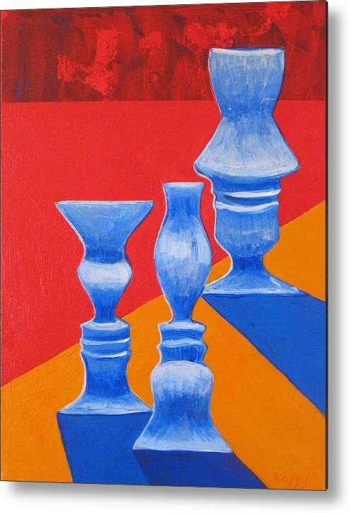 Profiles Metal Print featuring the painting Faces Vases by Rollin Kocsis