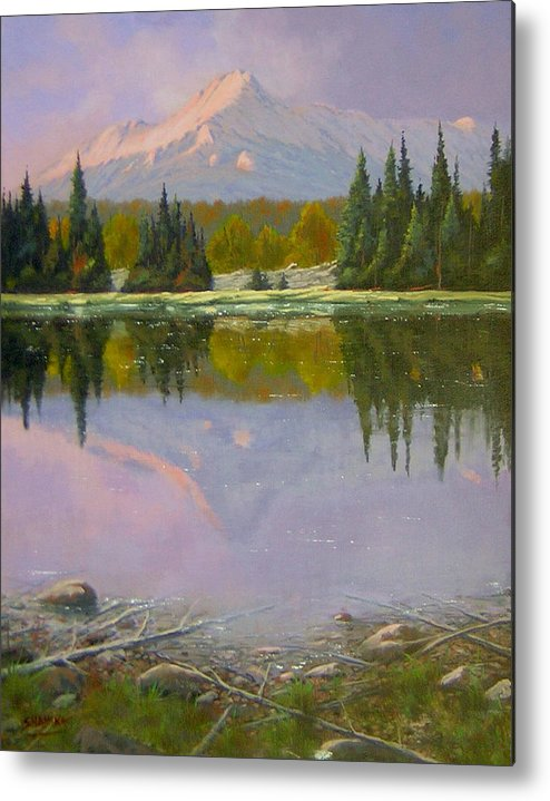 Landscape Metal Print featuring the painting Fading Light - Peaceful Moment by Kenneth Shanika