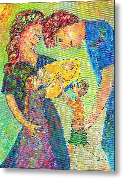 Family Enjoying Each Other Metal Print featuring the painting Family Matters by Naomi Gerrard