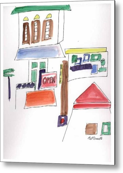 Watercolor Metal Print featuring the painting Festival in the City 1 by B L Qualls