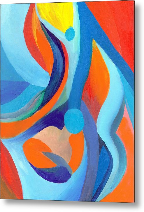 Abstract Metal Print featuring the painting Finding Joy by Peter Shor