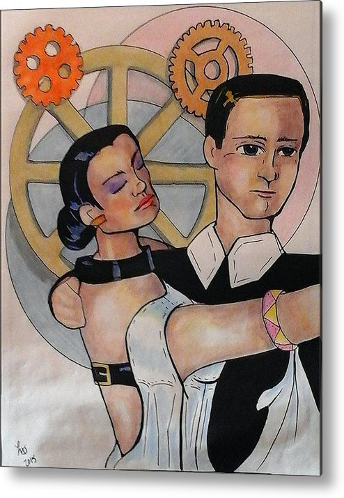 Dance Metal Print featuring the drawing First Dance by Loretta Nash