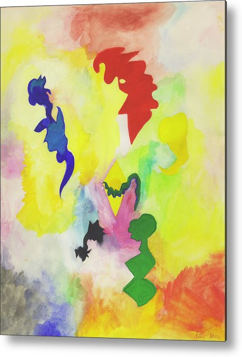 Abstract Metal Print featuring the painting Floating BeIngs by Peter Shor
