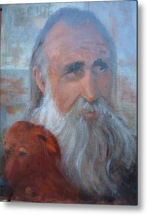 Man With His Dog Metal Print featuring the painting Friends by Bryan Alexander