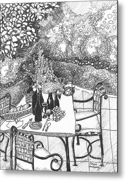 Still Life Metal Print featuring the drawing Garden Table by Jo Anna McGinnis