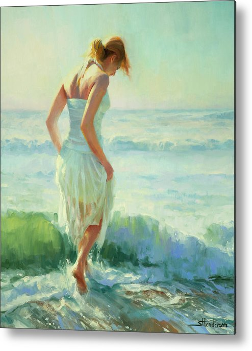 Seashore Metal Print featuring the painting Gathering Thoughts by Steve Henderson