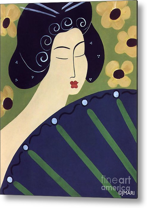 #japanese Metal Print featuring the painting Geisha Doll by Jacquelinemari