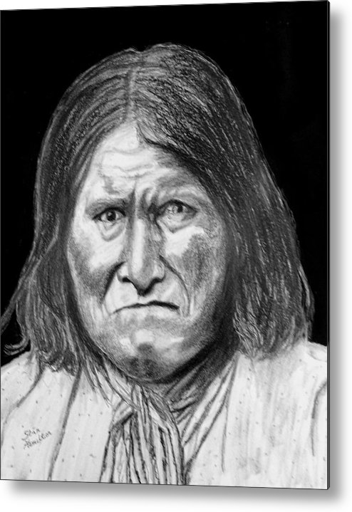 Indian Portrait Metal Print featuring the drawing Geronamo by Stan Hamilton