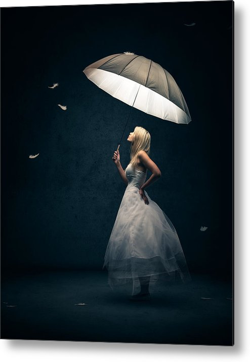 Girl Metal Print featuring the photograph Girl with umbrella and falling feathers by Johan Swanepoel