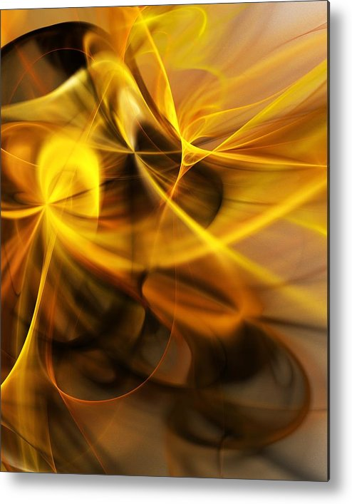 Fractal Metal Print featuring the digital art Gold and Shadows by David Lane