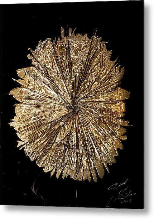 Abstract Metal Print featuring the painting Gold Spin by Rick Silas