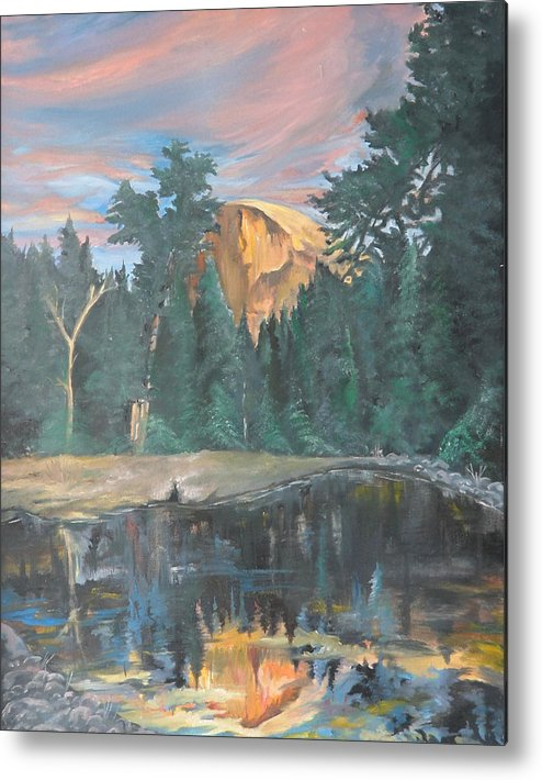 Sunset Metal Print featuring the painting Half Dome Sunset by Travis Day