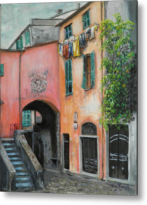 Cityscape Metal Print featuring the painting Hanging Out in Monterosso al Mare by Dan Bozich