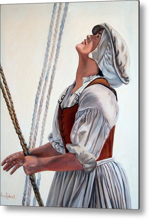 Portrait Metal Print featuring the painting Hoisting Sails by Anne Kushnick