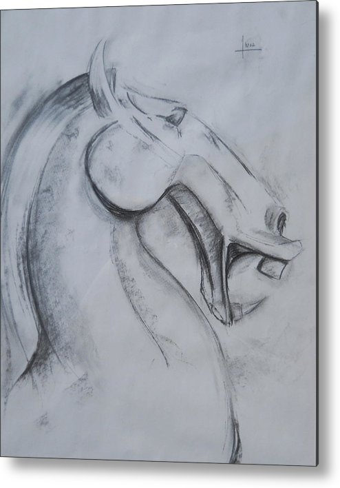Horse Metal Print featuring the drawing Horse face by Victor Amor