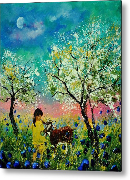 Landscape Metal Print featuring the painting In the orchard by Pol Ledent