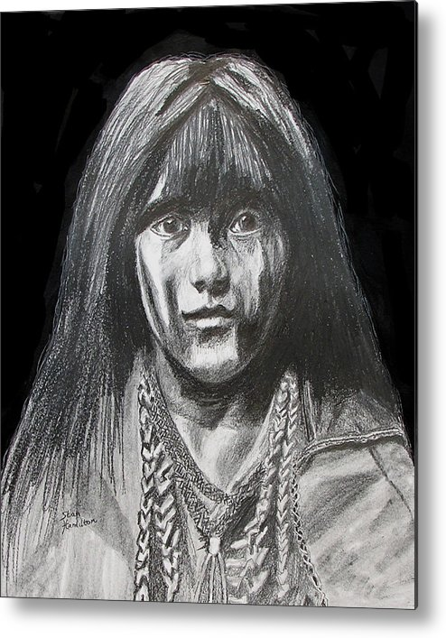 Original Drawing Metal Print featuring the drawing Indian Princess by Stan Hamilton