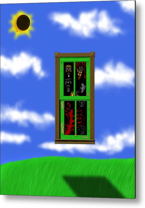 Surrealism Metal Print featuring the digital art Into The Green Window by Robert Morin