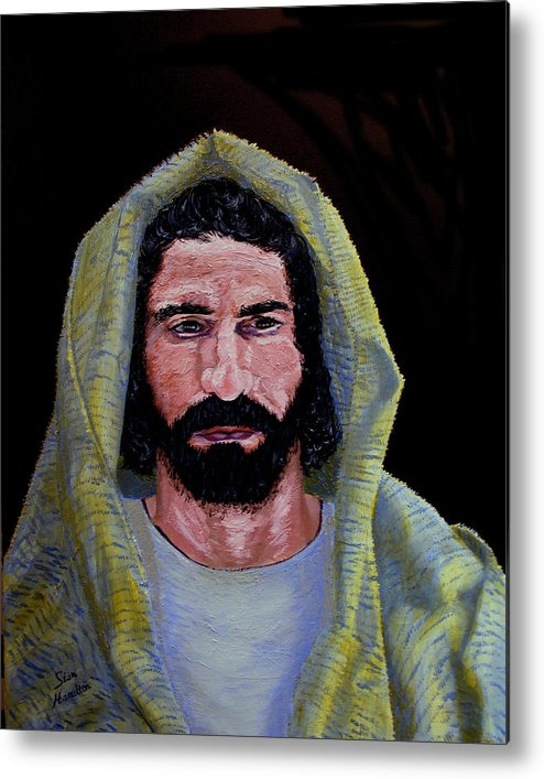 Jesus Christ Metal Print featuring the painting Jesus in Contemplation by Stan Hamilton