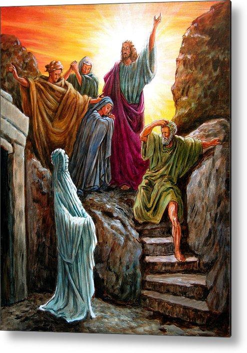 Bible Scene Metal Print featuring the painting Jesus Raises Lazarus by John Lautermilch