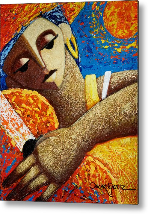 Puerto Rico Metal Print featuring the painting Jibara y Sol by Oscar Ortiz