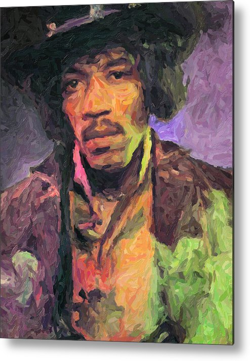 Jimi Hendrix Metal Print featuring the painting Jimi Hendrix by Zapista OU