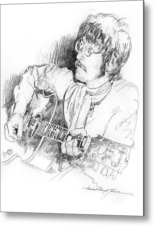 John Lennon Metal Print featuring the drawing John Lennon by David Lloyd Glover